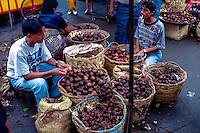 West Sumatra, Padang. Salak, or snake skin fruit, sold on the Padang market, Pasar Raya.