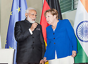 The German Chancellor Angela Merkel ,and the Indian Prime Minister Narendra Modi , are seen during a joint press conference at the chancellery in Berlin, on  Monday, May 30, 2017. The Prime Minister is visiting the German capital as part of a trip that will include two more European countries- France and Spain. (Photo by Omer Messinger)