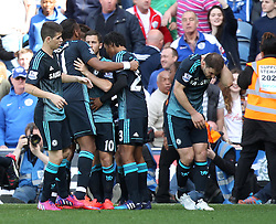 Chelsea's Branislav Ivanovic is struck by a lighter as Chelsea celebrate Chelsea's Cesc Fabregas goal - Photo mandatory by-line: Robbie Stephenson/JMP - Mobile: 07966 386802 - 12/04/2015 - SPORT - Football - London - Loftus Road - Queens Park Rangers v Chelsea - Barclays Premier League