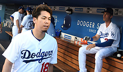 June 27, 2017 - Los Angeles, California, U.S. - Los Angeles Dodgers starting pitcher Kenta Maeda (18) and left fielder Cody Bellinger (35) prior to a Major League baseball game between the Los Angeles Angels and the Los Angeles Dodgers at Dodger Stadium on Tuesday, June 27, 2017 in Los Angeles. (Photo by Keith Birmingham, Pasadena Star-News/SCNG) (Credit Image: © San Gabriel Valley Tribune via ZUMA Wire)