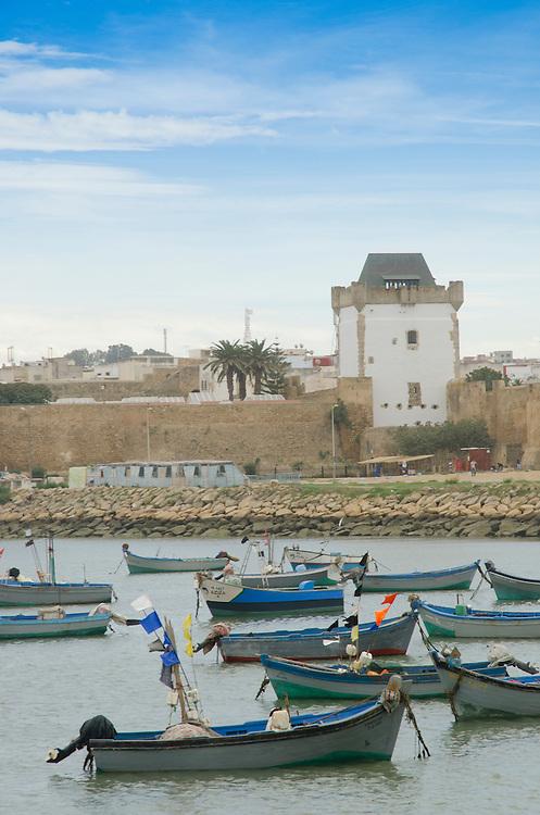 Fishing boats at Asilah's Atlantic coast, Morocco