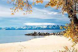 Pretty autumn day at Sand Harbor in Lake Tahoe California