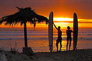 Long Board Surfers On The Beach At Sunset