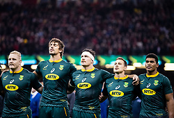 South Africa players sing their anthem<br /> <br /> Photographer Simon King/Replay Images<br /> <br /> Under Armour Series - Wales v South Africa - Saturday 24th November 2018 - Principality Stadium - Cardiff<br /> <br /> World Copyright © Replay Images . All rights reserved. info@replayimages.co.uk - http://replayimages.co.uk