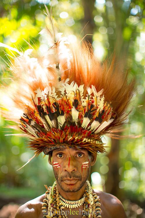 Portrait of man wearing traditional headdress, Mclaren Harbour, Tufi, Cape Nelson, Oro Province, Papua New Guinea