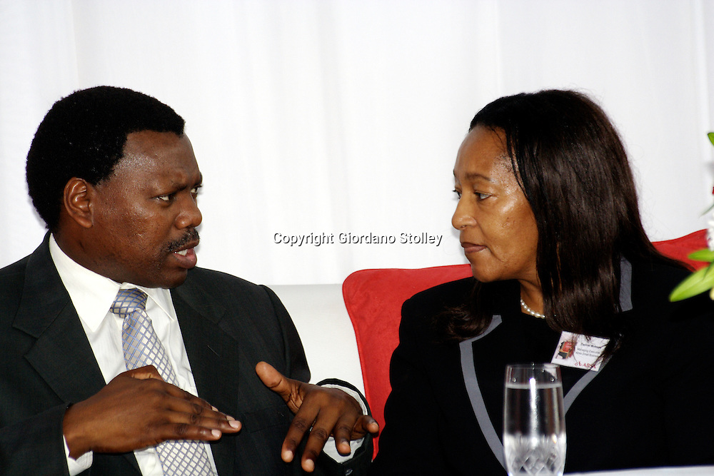 DURBAN - 20 July 2007 - KwaZulu-Natal finance MEC Dr Zweli Mkhize (left) and Absa Bank's managing executive for small business Daphne Motsepe chat before the opening of an Absa Bank business advisory centre in Durban's Warwick Triangle area..Picture: Giordano Stolley/Allied Picture Press
