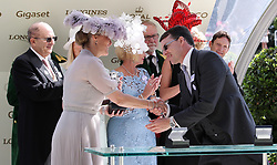 Sophie Countess of Wessex presents winning trainer Aiden O'Brien with the an award for Magic Wand winning the Ribblesdale Stakes during day three of Royal Ascot at Ascot Racecourse.. PRESS ASSOCIATION Photo. Picture date: Thursday June 21, 2018. See PA story RACING Ascot. Photo credit should read: John Walton/PA Wire. RESTRICTIONS: Use subject to restrictions. Editorial use only, no commercial or promotional use. No private sales.