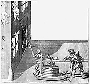 Fire engine. From Isaac de Caus 'Nouvelle Invention de Lever l'Eau Plus Hault', London, 1664. Engraving
