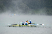 Aiguebelette, FRANCE,  NZL M2-, Training Session,   2015 FISA World Rowing Championships, Venue, Lake Aiguebelette - Savoie. <br /> <br /> Friday  04/09/2015  [Mandatory Credit. Peter SPURRIER/Intersport Images]. © Peter SPURRIER, Atmospheric, Rowing