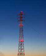 Power transmission tower and lines, Tacoma, Washington, USA
