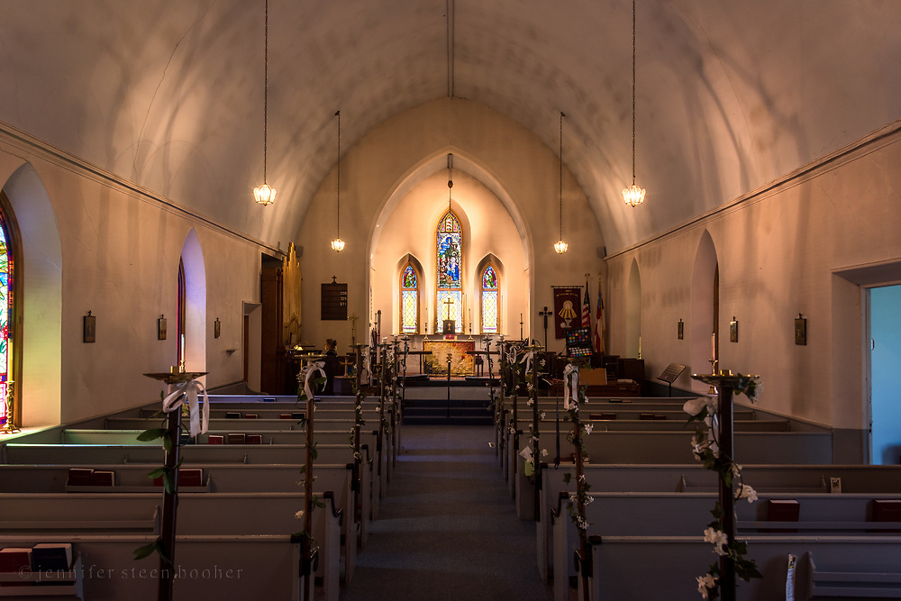 Interior of nave facing altar. Fred Emery Beane II Memorial Window. St. Matthew and Barnabas, Hallowell, Maine.