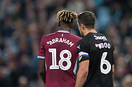 Richard Wood of Rotherham United (6) marks Tammy Abraham of Aston Villa (18) tightly during the EFL Sky Bet Championship match between Aston Villa and Rotherham United at Villa Park, Birmingham, England on 18 September 2018.