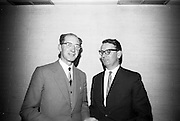 05/04/1966<br /> 04/05/1966<br /> 05 April 1966<br /> An Foras Forbatha Press Conference at Power's Hotel, Dublin. Pictured at the An Foras Forbartha (National Institute for Physical Planning and Construction Research), reception to announce the research programme of the Roads and Road Traffic Committee for 1966/1967 were Mr. Padraic O'hUiginn (left) Managing Director, An Foras Forbartha and Mr. E.T. Sheehy Assistant Secretary Department of Local Government at the reception.