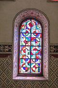 Stained glass window inside the Stadtkirche (City Church) in Stein am Rhein village, in Schaffhausen Canton, Switzerland, Europe.