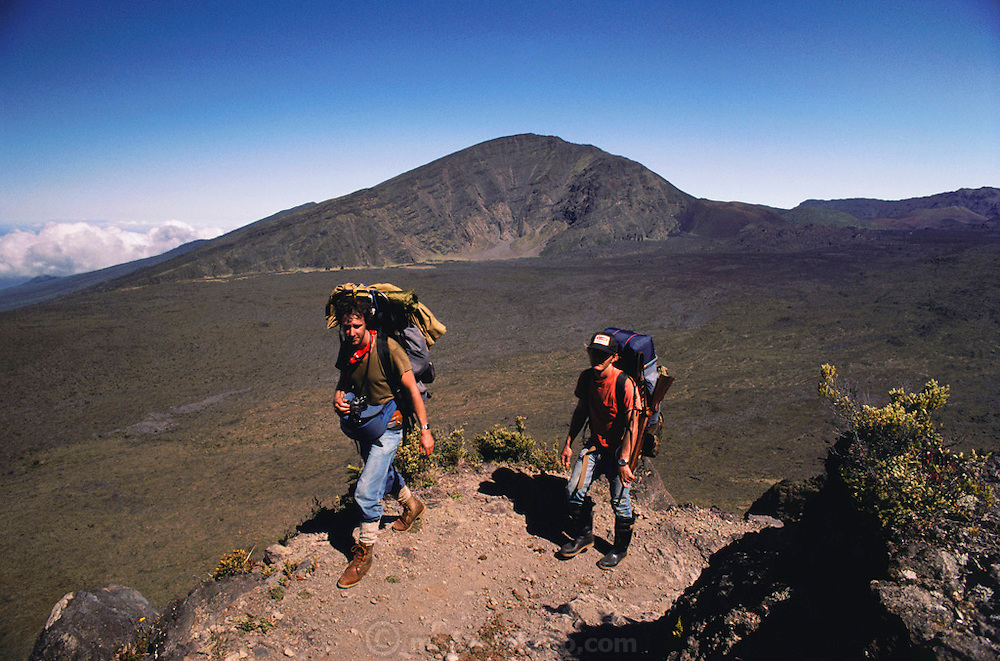 Hikers in Waikamoi crater, Maui. MODEL RELEASED.