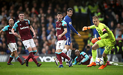 Chelsea's Alvaro Morata (second right) and West Ham United players during the Premier League match at Stamford Bridge, London.