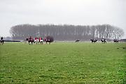 Nederland, Ubbergen, 15-1-2014Ruiters in het weiland tijdens een slipjacht.Foto: Flip Franssen/Hollandse Hoogte