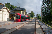 The tram station at Fulpmes, a village and a municipality in Stubaital, Tyrol, Austria.