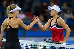 September 26, 2018 - Angelique Kerber of Germany & Ashleigh Barty of Australia at the net after their third-round match at the 2018 Dongfeng Motor Wuhan Open WTA Premier 5 tennis tournament (Credit Image: © AFP7 via ZUMA Wire)