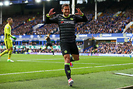 Eden Hazard of Chelsea reacts in frustration after missing an open goal.  Premier league match, Everton v Chelsea at Goodison Park in Liverpool, Merseyside on Sunday 30th April 2017.<br /> pic by Chris Stading, Andrew Orchard sports photography.