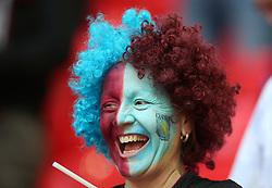 An Aston Villa fan in faceprint during the Sky Bet Championship Final at Wembley Stadium, London.