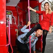 Lilly Douse and Simon Gross  attend Celeb Bri Tea, on board the BB Bakery bus on 22 March 2019, London, UK.