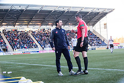 Falkirk's manager Paul Hartley and Ref Craig Thomson. Falkirk 1 v 1 Dunfermline, Scottish Championship game played 4/5/2017 at The Falkirk Stadium.