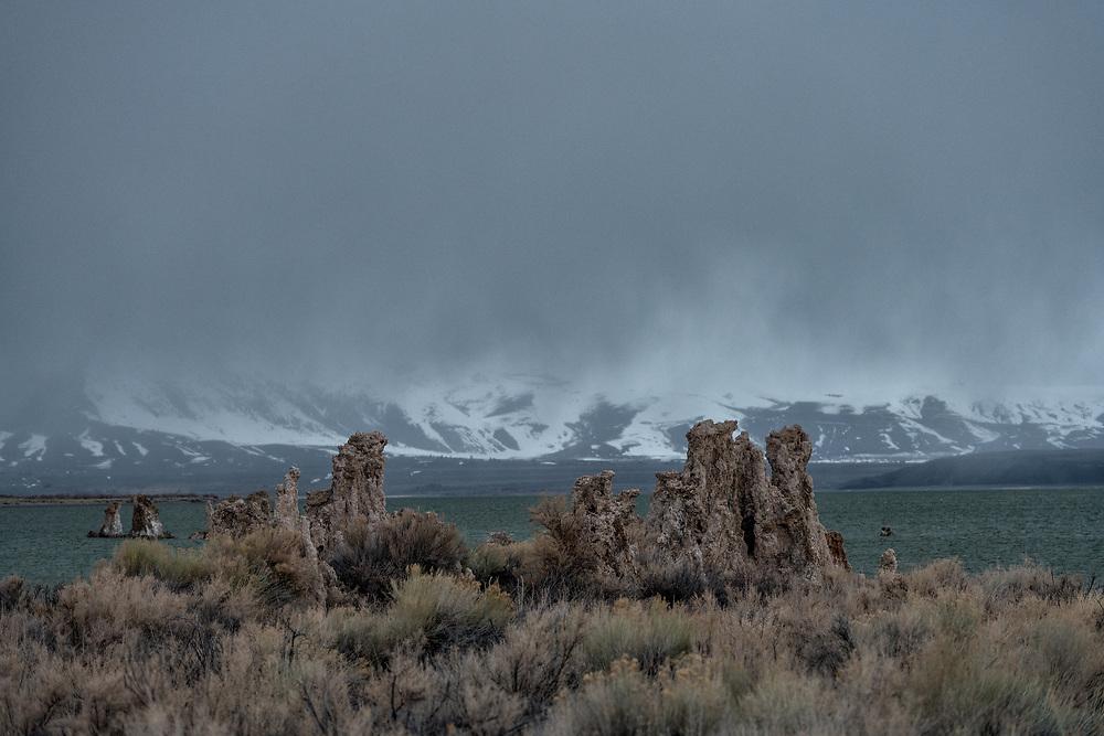 A storm rolls over Mono Lake