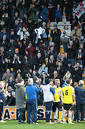 Chesham fans applaud the players after the game during the The FA Cup match between Bradford City and Chesham FC at the Coral Windows Stadium, Bradford, England on 6 December 2015. Photo by Mark P Doherty.