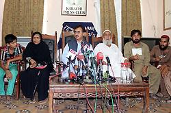 Sept. 29, 2015 - Pakistan - KARACHI, PAKISTAN, SEP 29: Muslim League (PML-Q) Leader, Haleem Adil Sheikh .addresses to media persons during press conference regarding the missing Pakistani Hajj .pilgrims after the Mina Stampede tragedy, at Karachi press club on Tuesday, September .29, 2015. (Credit Image: © PPI via ZUMA Wire)