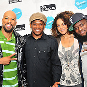 PHILADELPHIA - OCTOBER 01:  (L-R) Common, Sway Calloway, Marsha Ambrosius and Freeway backstage at ÒThe Get Schooled National Challenge & TourÓ at Abraham Lincoln High School on October 1, 2010 in Philadelphia, Pennsylvania.  (Photo by Lisa Lake/Getty Images for The Get Schooled Foundation)