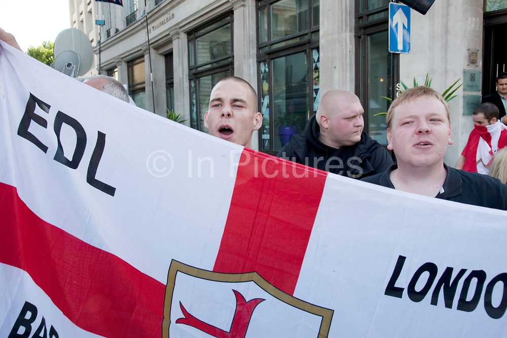 As Palestinians demonstrate in central London in support of the rights of the Palestinian people members of the EDL gather to voice their opinions against the gathering. The English Defence League (EDL) is a far-right street protest movement which opposes what it perceives as the spread of Islamism, Sharia law and Islamic extremism in England. The EDL uses street marches to protest against Islamic extremism.