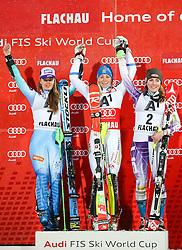 13-01-2015 AUT: Alpine Skiing World Cup, Flachau<br /> v.l.: Tina Maze (SLO, 2. Platz), Frida Hansdotter (SWE, 1. Platz), Mikaela Shiffrin (USA, 3. Platz) //  Celebrates on podium during victory ceremony after ladie's Slalom of FIS Ski Alpine Worldcup at the Hermann Maier <br /> <br /> ***NETHERLANDS ONLY***
