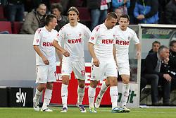 16.10.2011,  Rhein Energie Stadion, Koeln, GER, 1.FBL, 1. FC Koeln vs Hannover 96 ,im Bild.Torjubel / Jubel  nach dem 1:0 durch Lukas Podolski (Koeln #10) (M) mit Slawomir Peszko (Koeln #15) (L), Martin Lanig (Koeln #13) und Sascha Riether (Koeln #5) (R) ..// during the 1.FBL, 1. FC Koeln vs Hannover 96 on 2011/10/16, Rhein-Energie Stadion, Köln, Germany. EXPA Pictures © 2011, PhotoCredit: EXPA/ nph/  Mueller *** Local Caption ***       ****** out of GER / CRO  / BEL ******