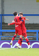 GOAL 2-1 Wigan Athletic striker Callum Lang (9) is congratulated by team mate Wigan Athletic forward Kyle Joseph (22) during the EFL Sky Bet League 1 match between Rochdale and Wigan Athletic at the Crown Oil Arena, Rochdale, England on 16 January 2021.
