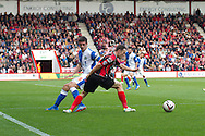 Marc Pugh (R) of AFC Bournemouth v Lee Williamson (L) of Blackburn Rovers during the Skybet Championship match, AFC Bournemouth v Blackburn Rovers at The Goldsands Stadium in Bournemouth, England on Saturday 28th September 2013. Picture by Sophie Elbourn/Andrew Orchard Sports Photography.