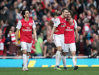 20120226: LONDON, UK - Barclays Premier League 2011/2012: Arsenal vs Tottenham.<br /> In photo: Arsenals Robin Van Persie celebrates his goal with Tomas Rosicky.<br /> PHOTO: CITYFILES