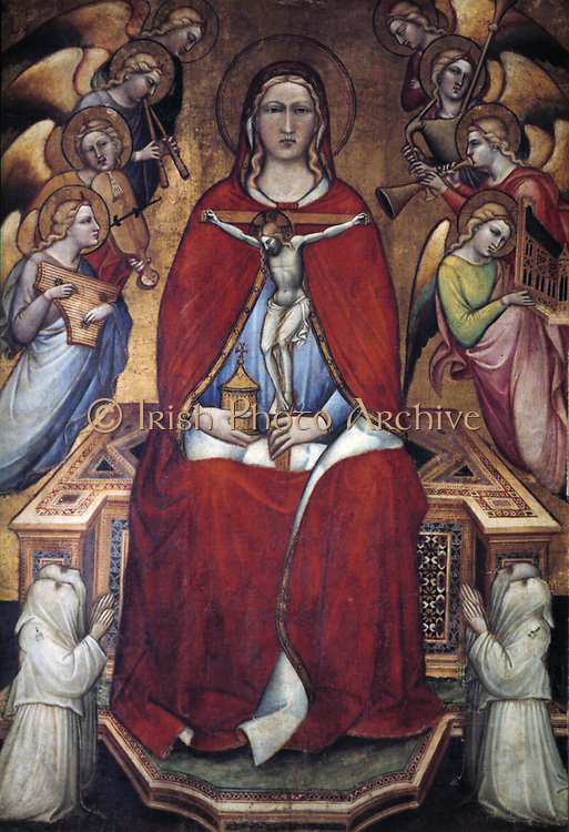 Saint Mary Magdalene with a Crucifix', 1375.   Mary, in a scarlet robe, holds a cricifix with the image of Christ crucified. Around her are angels playing musical instruments.   Aretino Spinello (c1350-1410), Italian painter.