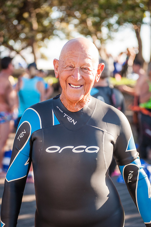 WELLINGTON, NEW ZEALAND - January 25: State Ocean Swim Series' oldest competitor 85 years old getting ready to begin the race ,   January 25, 2015 in Wellington, New Zealand.  REAL PEOPLE.  (Photo by Elias Rodriguez/ real-people.co.nz)