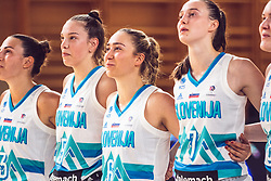 Teja Oblak of Slovenia and Tina Cvijanovic of Slovenia and Annamaria Prezelj of Slovenia and Marusa Senicar of Slovenia during Women's Basketball - Slovenia vs Slovaska on the 14th of June 2019, Dvorana Poden, Skofja Loka, Slovenia. Photo by Matic Ritonja / Sportida