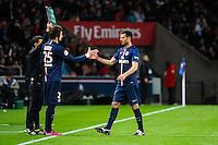 Adrien RABIOT / Thiago MOTTA - 28.04.2015 - Paris Saint Germain / Metz - Match en retard - 32eme journee Ligue 1<br />Photo : Nolwenn Le Gouic / Icon Sport