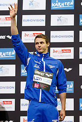 Ben Proud of Great Britain ties for the Bronze medal in the Mens 50m Butterfly Final with Andriy Govorov of Ukraine (not pictured) - Photo mandatory by-line: Rogan Thomson/JMP - 07966 386802 - 19/08/2014 - SPORT - SWIMMING - Berlin, Germany - Velodrom im Europa-Sportpark - 32nd LEN European Swimming Championships 2014 - Day 7.