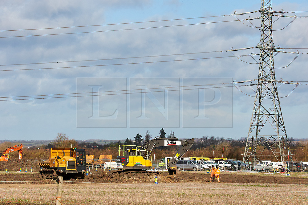 © Licensed to London News Pictures. 11/02/2020. Wendover, UK.  Enabling works continue on the proposed HS2 route near Wendover on the day the Government is expected to give the go-ahead. A number of large electricity grid pylons need to be moved to make way for the controversial high speed railway between London and Birmingham. Taken from a public footpath. Photo credit: Cliff Hide/LNP