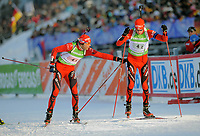 Skiskyting<br /> IBU World Cup<br /> Oberhof Tyskland<br /> 07.01.2010<br /> Foto: imago/Digitalsport<br /> NORWAY ONLY<br /> <br /> IBU World Cup Biathlon Staffel - Männer / 4 x 7.5 km Staffelwechsel Halvard Hanevold (L) auf Tarjel Bø (NOR)
