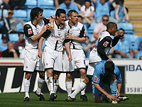 Photo: Rich Eaton.<br /> <br /> Coventry City v Preston North End. Coca Cola Championship. 14/04/2007. David Nugent of Preston (centre) heads home his teams second goal  in the first half and celebrates with teammates