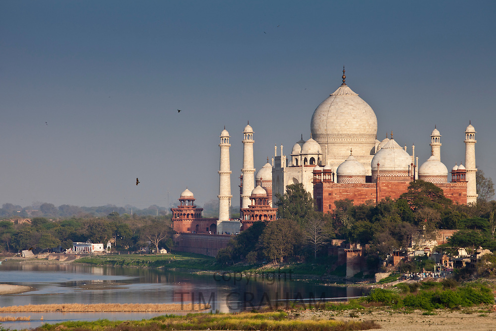 The Taj Mahal view and Yamuna River at sunset from Agra Fort, Khas Mahal Palace, India