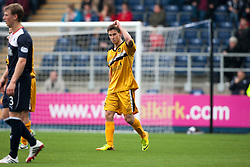 Dumbarton's Mitchell Megginson celebrates after scoring their second goal.<br /> Falkirk 1 v 2 Dumbarton, Scottish Championship game played today at the Falkirk Stadium.<br /> ©Michael Schofield.