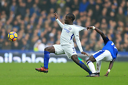 23rd December 2017 - Premier League - Everton v Chelsea - Ngolo Kante of Chelsea is pulled back by Idrissa Gueye of Everton - Photo: Simon Stacpoole / Offside.