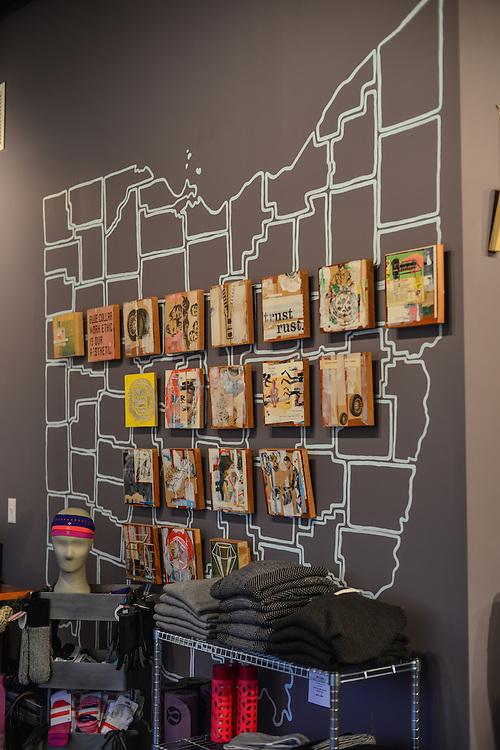Interior display at lululemon athletica Akron showroom.