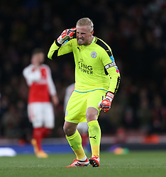 26 April 2016 London : Premier League Football : Arsenal v Leicester City :<br /> City goalkeeper and captain Kasper Schmeichel loses his temper towards the end of the match.<br /> Photo: Mark Leech